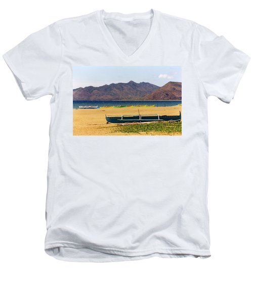 Boats On South China Sea Beach Men's V-Neck T-Shirt by Amelia Racca