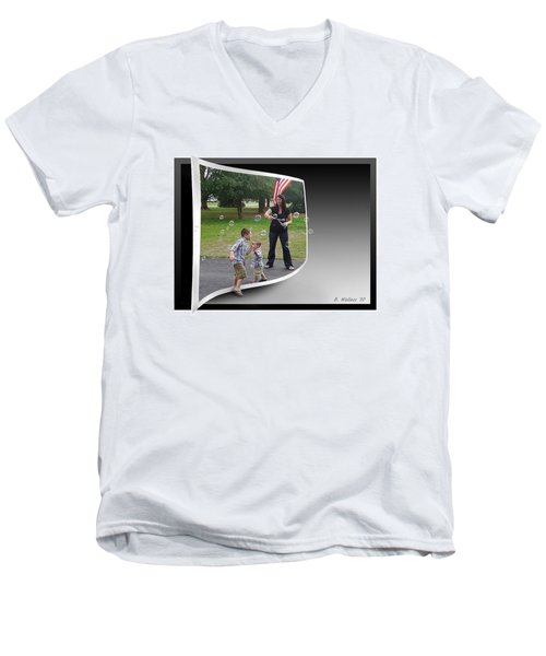 Men's V-Neck T-Shirt featuring the photograph Chasing Bubbles by Brian Wallace