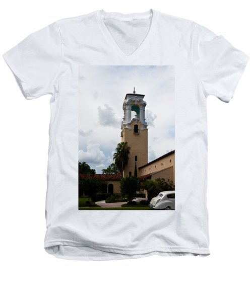 Men's V-Neck T-Shirt featuring the photograph Congregational Church Tower by Ed Gleichman