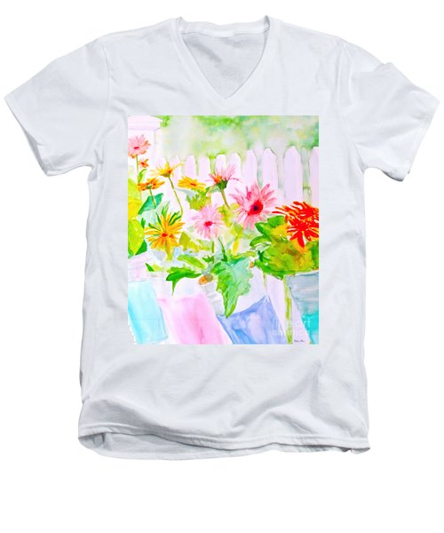 Daisy Daisy Men's V-Neck T-Shirt by Beth Saffer