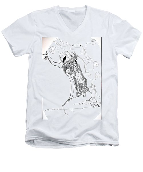 Men's V-Neck T-Shirt featuring the drawing Dinka Dance - South Sudan by Gloria Ssali