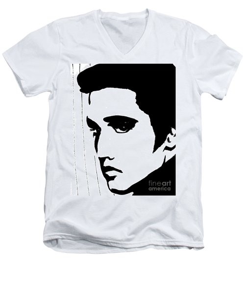 Elvis In Black And White Men's V-Neck T-Shirt