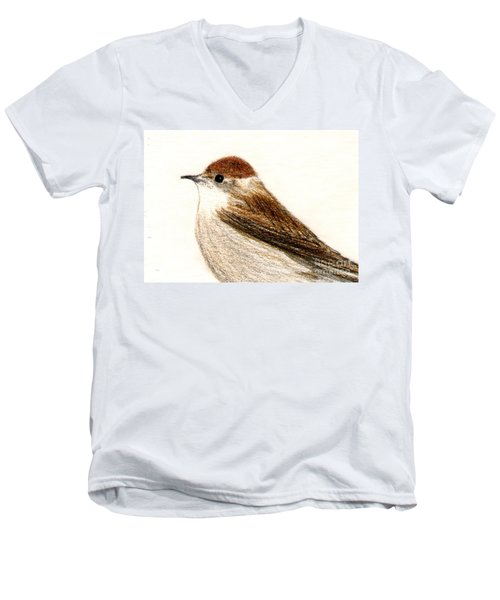 Men's V-Neck T-Shirt featuring the drawing Female Blackcap  by Barbara Moignard