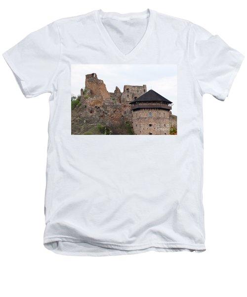 Men's V-Neck T-Shirt featuring the photograph Filakovo Hrad - Castle by Les Palenik