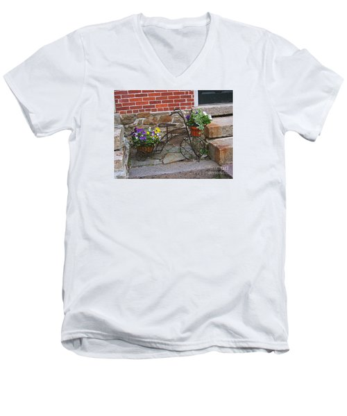 Flower Bicycle Basket Men's V-Neck T-Shirt by Val Miller
