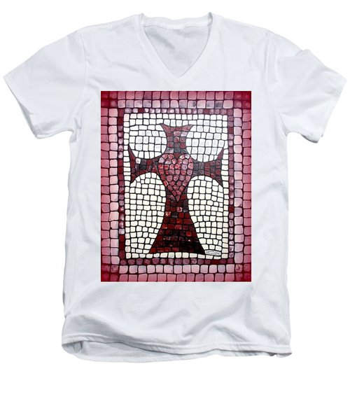 Men's V-Neck T-Shirt featuring the painting Heart Cross by Cynthia Amaral