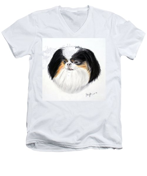 Men's V-Neck T-Shirt featuring the drawing Japanese Chin Dog Portrait by Jim Fitzpatrick