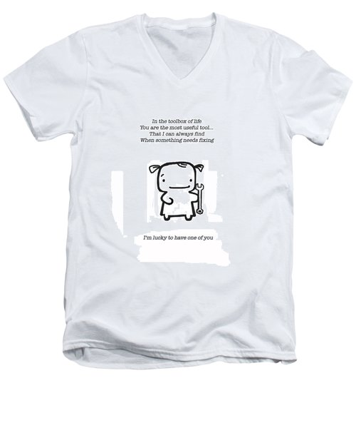Men's V-Neck T-Shirt featuring the drawing Most Useful Tool by Leanne Wilkes