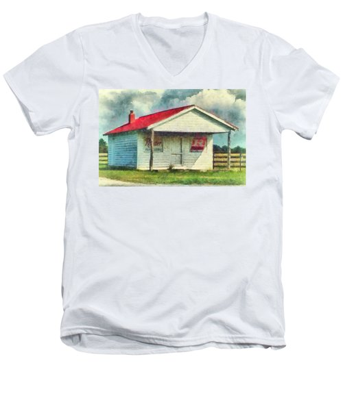 Men's V-Neck T-Shirt featuring the painting Royster Fertilizers  by Lynne Jenkins