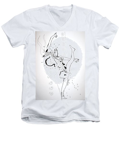 Men's V-Neck T-Shirt featuring the drawing Zulu Dance - South Africa by Gloria Ssali