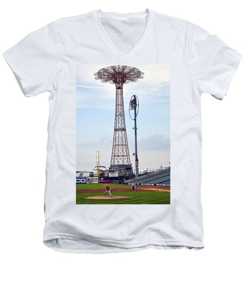 13 Year Old Pitching At Coney Island Cyclones Stadium Men's V-Neck T-Shirt