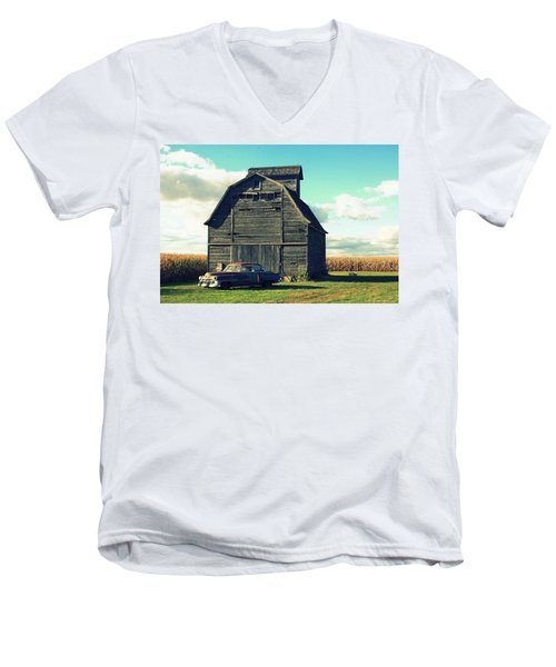 1950 Cadillac Barn Cornfield Men's V-Neck T-Shirt