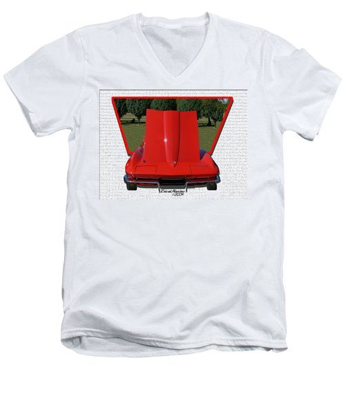 Men's V-Neck T-Shirt featuring the photograph 1965 Corvette by EricaMaxine  Price