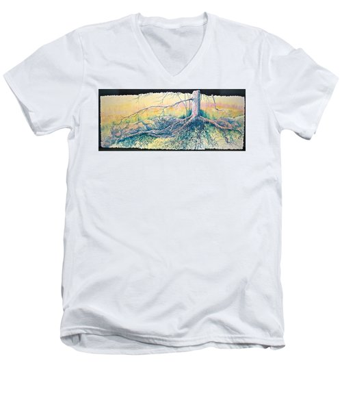 Men's V-Neck T-Shirt featuring the painting Rooted In Time by Carolyn Rosenberger