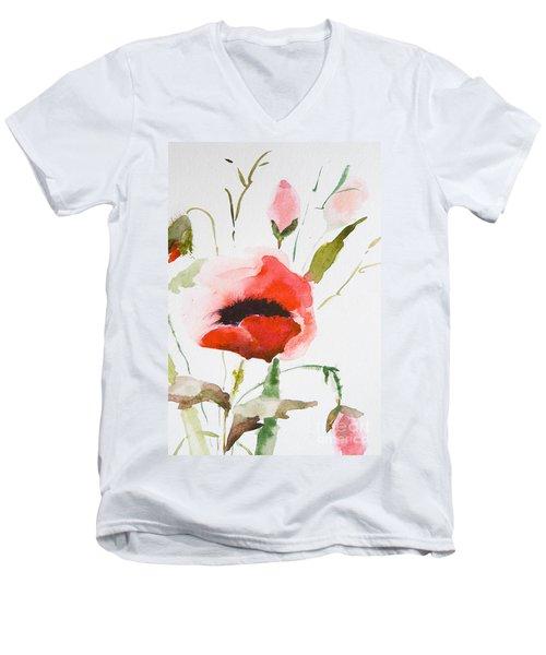 Watercolor Poppy Flower  Men's V-Neck T-Shirt
