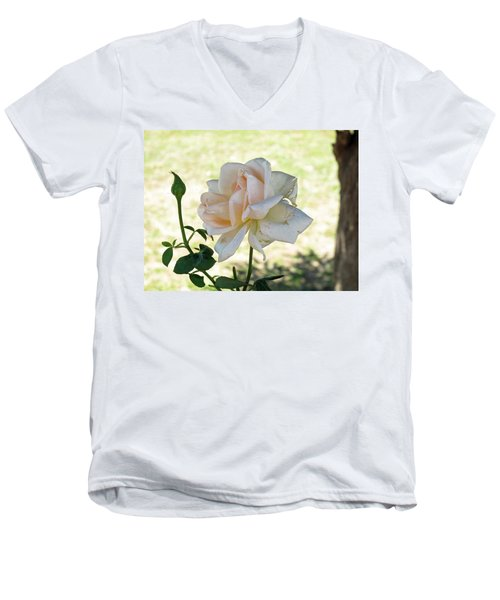 A Beautiful White And Light Pink Rose Along With A Bud Men's V-Neck T-Shirt by Ashish Agarwal