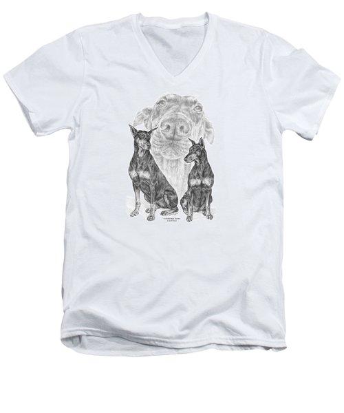 A Doberman Knows - Dobe Pinscher Art Print Men's V-Neck T-Shirt by Kelli Swan