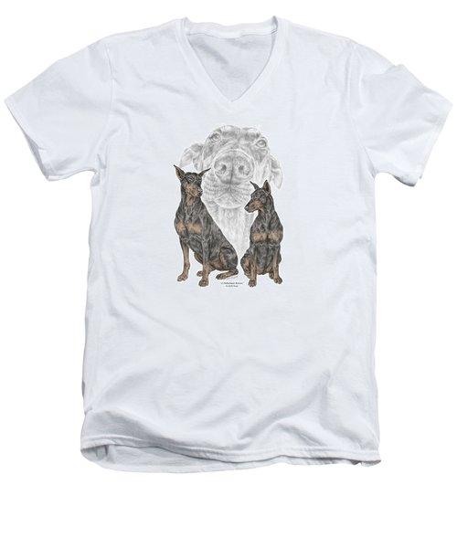 A Doberman Knows - Dobe Pinscher Dog Art Print Men's V-Neck T-Shirt by Kelli Swan
