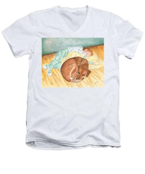 A Dog And Her Boy Men's V-Neck T-Shirt