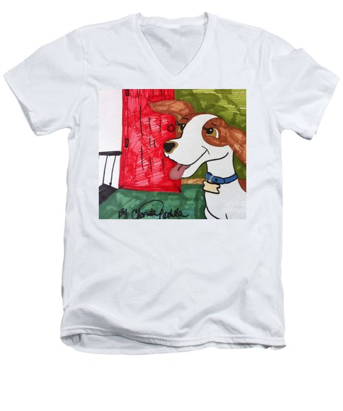 A Dog Is Heading Out The Door. Men's V-Neck T-Shirt