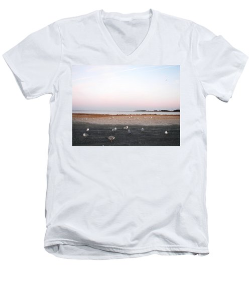 Men's V-Neck T-Shirt featuring the photograph A Gathering On Rehoboth Bay by Pamela Hyde Wilson