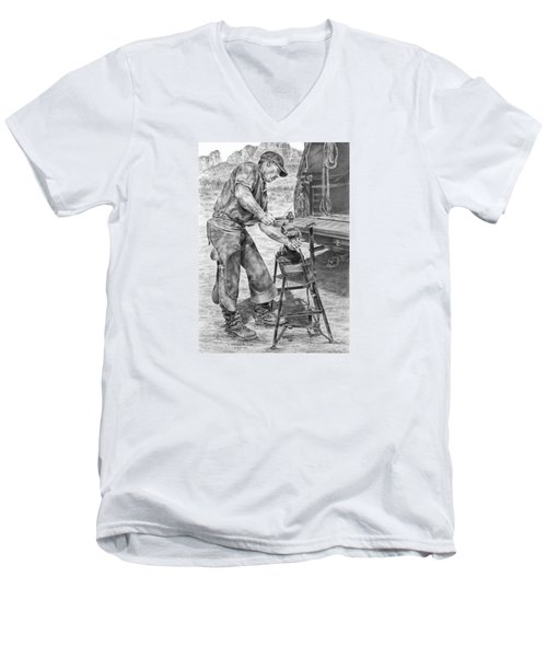 A Man And His Trade - Farrier Art Print Men's V-Neck T-Shirt by Kelli Swan