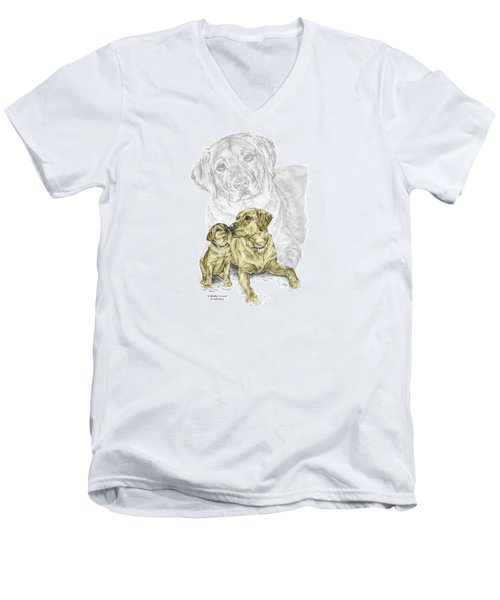 Men's V-Neck T-Shirt featuring the drawing A Mothers Love - Labrador Dog Print Color Tinted by Kelli Swan