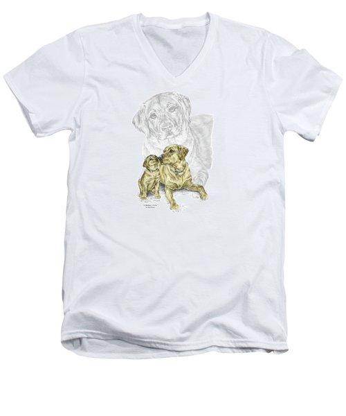 A Mothers Love - Labrador Dog Print Color Tinted Men's V-Neck T-Shirt by Kelli Swan