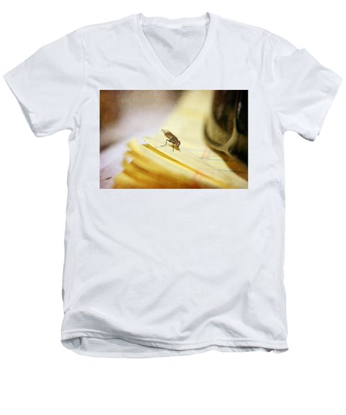 Men's V-Neck T-Shirt featuring the photograph A Red Eyes Fly On The Yellow Paper by Ester  Rogers