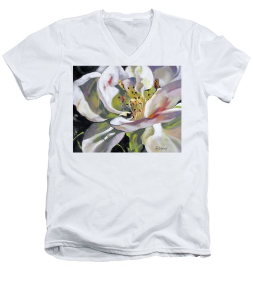 Men's V-Neck T-Shirt featuring the painting A Rose By Any Other Name by Rae Andrews