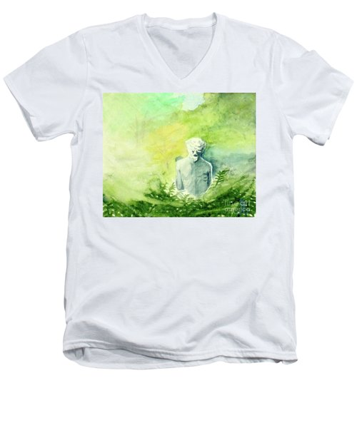 Men's V-Neck T-Shirt featuring the painting A Statue At The Wellers Carriage House -5 by Yoshiko Mishina