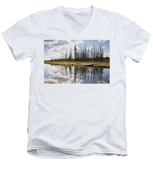 Men's V-Neck T-Shirt featuring the photograph A Tranquil River With A Reflection by Susan Dykstra
