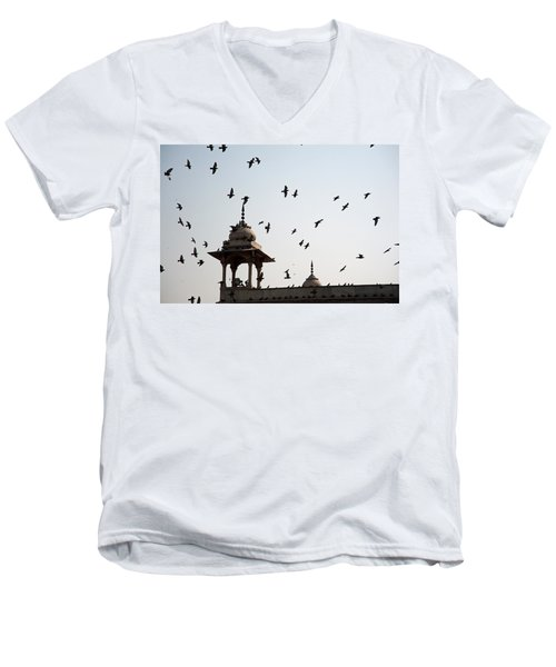 A Whole Flock Of Pigeons On The Top Of The Ramparts Of The Red Fort In New Delhi Men's V-Neck T-Shirt by Ashish Agarwal