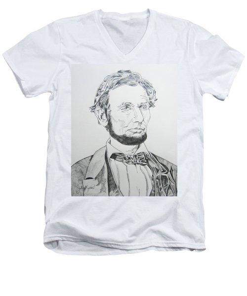 Abraham Lincoln Men's V-Neck T-Shirt by John Keaton