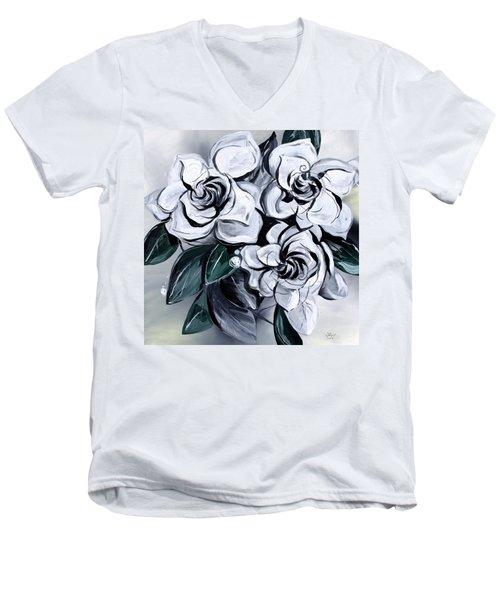 Abstract Gardenias Men's V-Neck T-Shirt