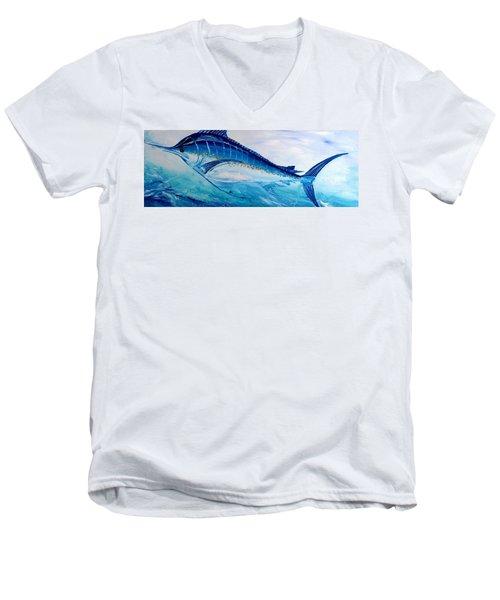 Abstract Marlin Men's V-Neck T-Shirt