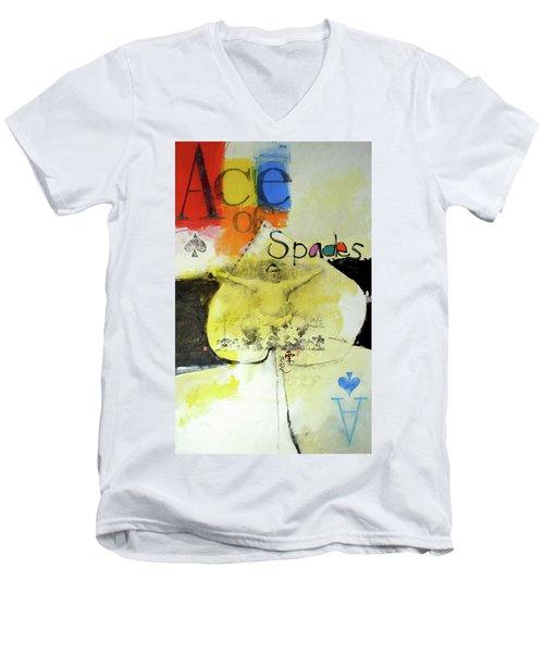 Ace Of Spades 25-52 Men's V-Neck T-Shirt by Cliff Spohn