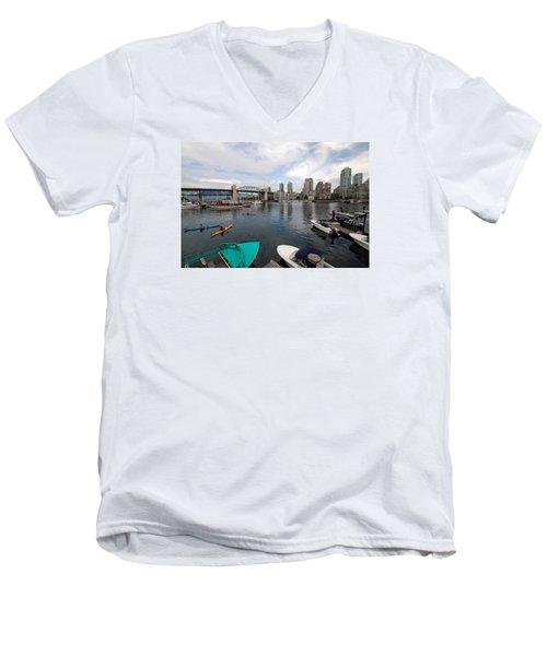Men's V-Neck T-Shirt featuring the photograph Across False Creek by John Schneider