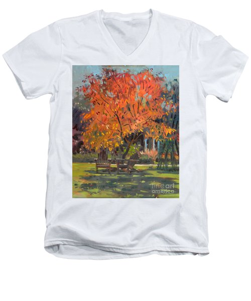 Men's V-Neck T-Shirt featuring the painting Adirondack Chairs by Donald Maier
