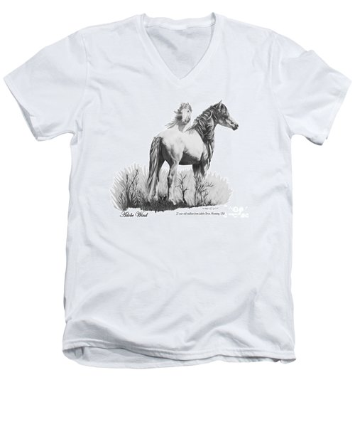 Men's V-Neck T-Shirt featuring the drawing Adobe Wind by Marianne NANA Betts