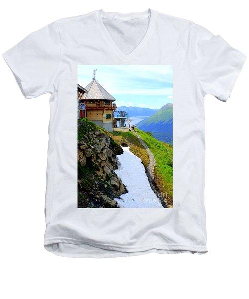 Men's V-Neck T-Shirt featuring the photograph Alyeska Ski Resort Alaska by Kathy  White
