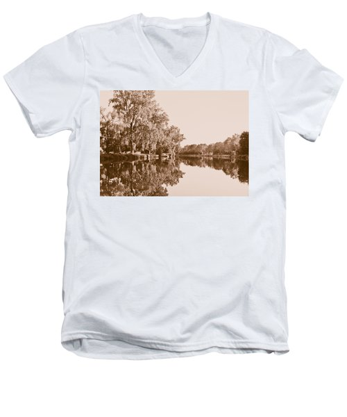 Men's V-Neck T-Shirt featuring the photograph Amber Reflection by Sara Frank