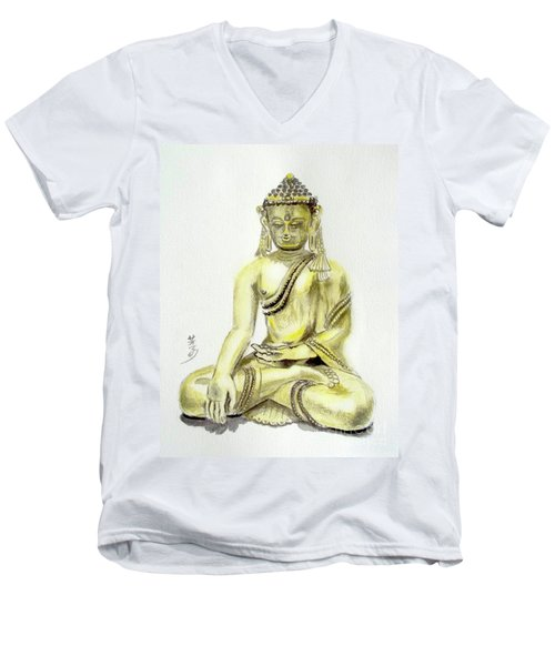 Men's V-Neck T-Shirt featuring the painting An Orient Statue At Toledo Art Museum - Ohio-3 by Yoshiko Mishina