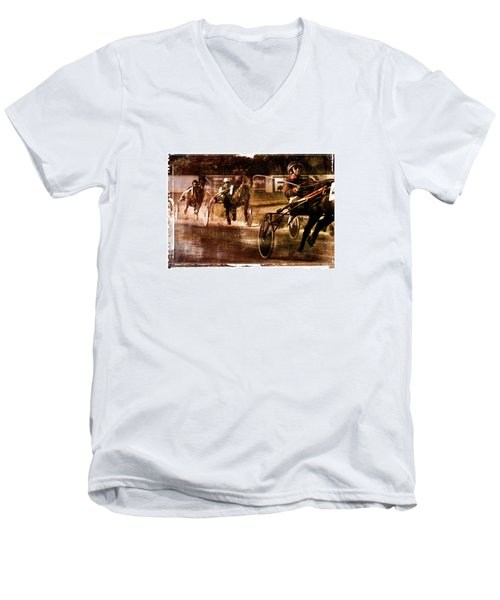 Men's V-Neck T-Shirt featuring the photograph and the winner is - A vintage processed Menorca trotting race by Pedro Cardona