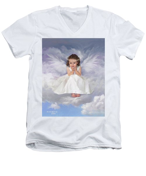 Men's V-Neck T-Shirt featuring the painting Angel 2 by Rob Corsetti