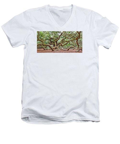 Angel Oak Men's V-Neck T-Shirt by Val Miller