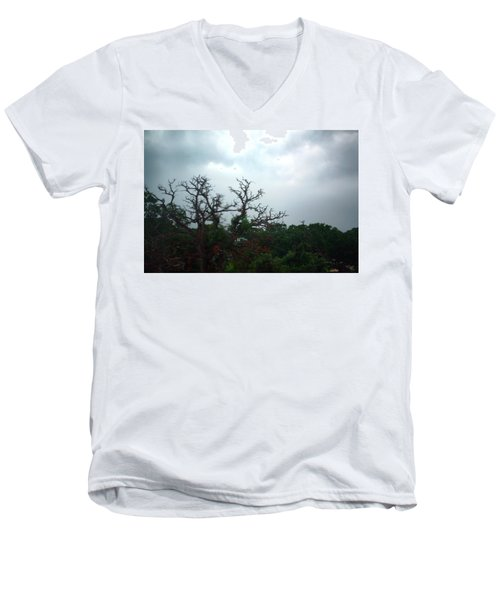 Men's V-Neck T-Shirt featuring the photograph Approaching Storm Viewed Through My Rain Streaked Window by Lon Casler Bixby
