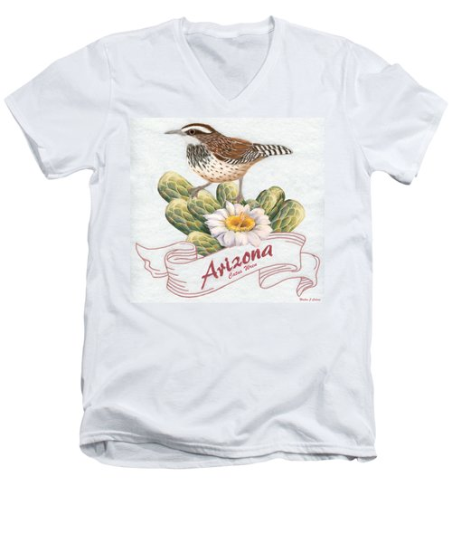 Arizona State Bird Cactus Wren  Men's V-Neck T-Shirt