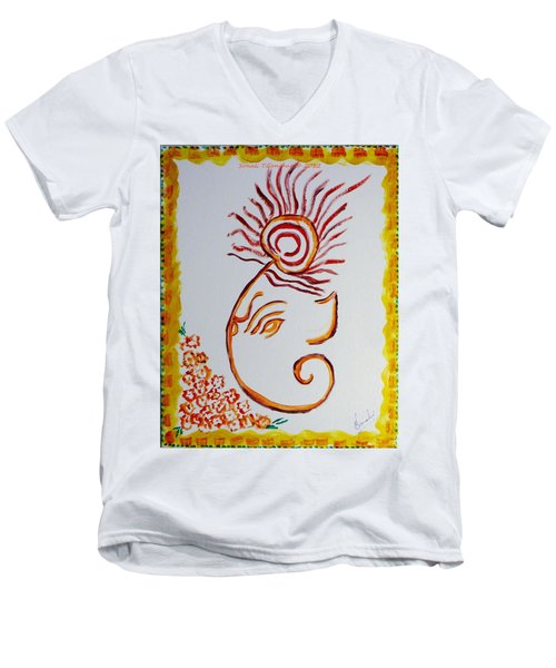 Men's V-Neck T-Shirt featuring the painting Artistic Lord Ganesha by Sonali Gangane
