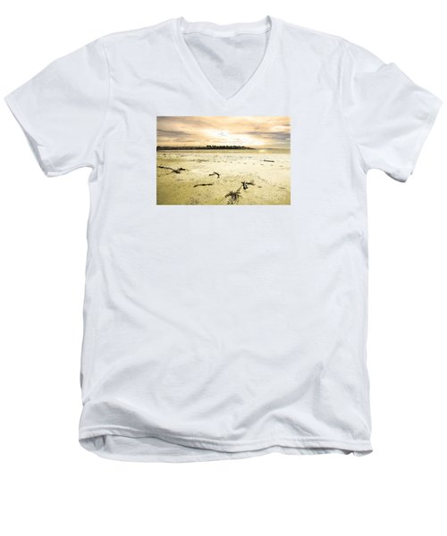 Men's V-Neck T-Shirt featuring the photograph At Caroline Bay Timaru New Zealand by Nareeta Martin